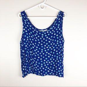 Melrose Blue Sleeveless Cropped Crinkle Blouse